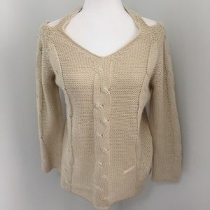 Sweaters - Beige Cold Shoulder Knit Sweater